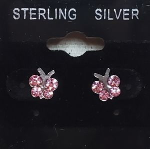 .925 Silver Butterfly Studs with Pink CZ